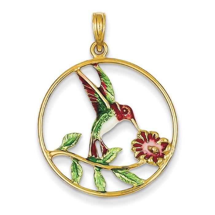 Finition émaillée 14 carats Humming Bird-and-Flower-Cadre Rond Pendentif
