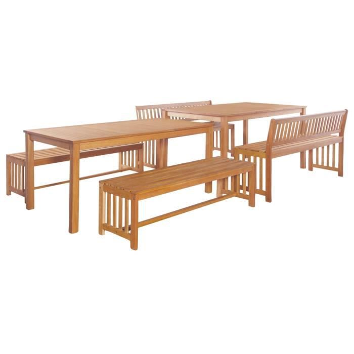 6 pcs Mobilier de jardin marron Bois d\'eucalyptus massif- 2 x table+ ...