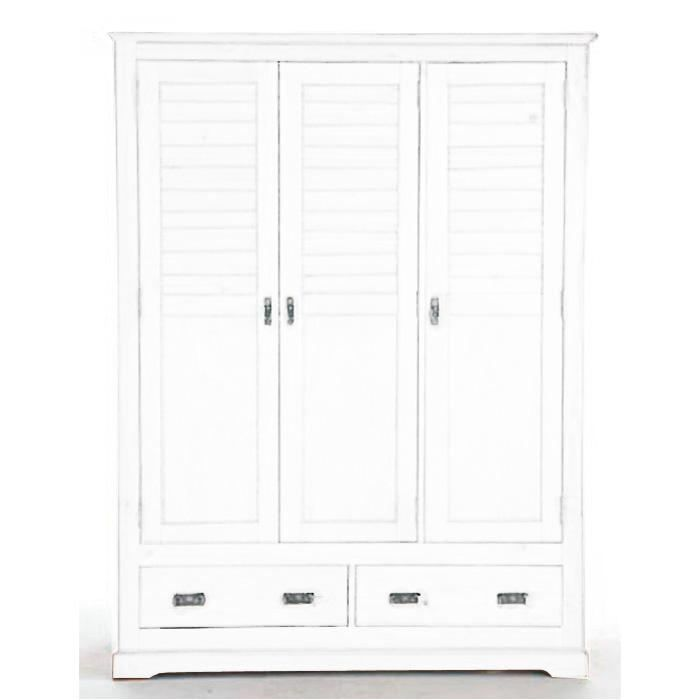 Armoire 3 portes 2 tiroirs maloom blanc achat vente for Soldes armoire chambre