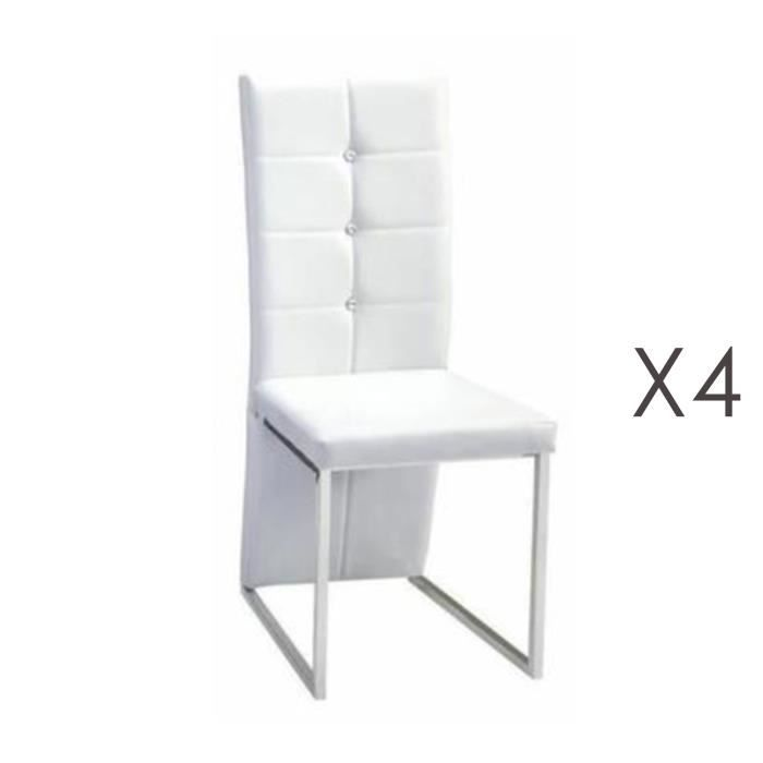 Lot De 4 Chaises Capitonnees Strass Blanc