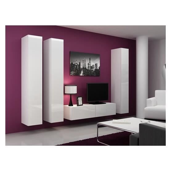 meuble tv design suspendu fidi blanc achat vente meuble tv meuble tv design suspendu f. Black Bedroom Furniture Sets. Home Design Ideas