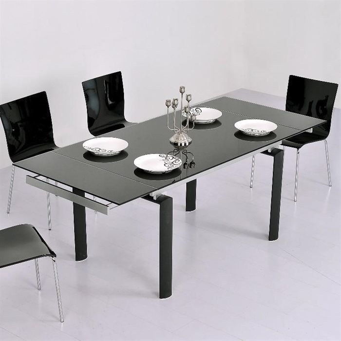 Table en verre noire rallonge extensible born o achat for Table a manger noir