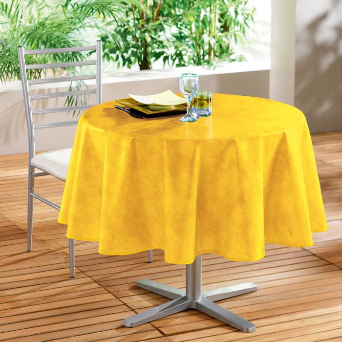 nappe pvc ronde 160cm beton cire jaune achat vente nappe de table cdiscount. Black Bedroom Furniture Sets. Home Design Ideas