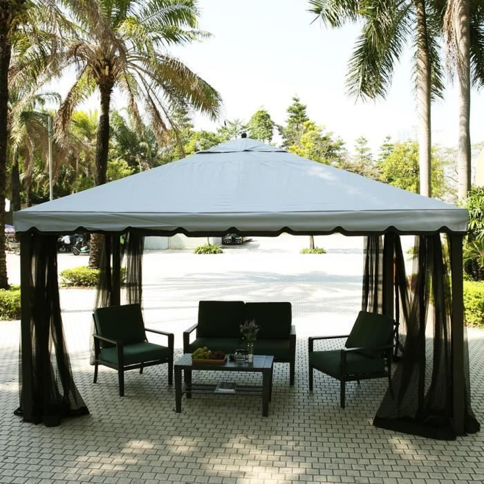 tonnelle terrasse de f te avec tente moustiquaire anti soleil jardin achat vente tonnelle. Black Bedroom Furniture Sets. Home Design Ideas