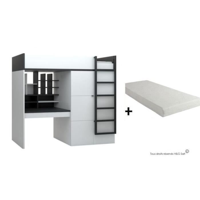 lit sureleve avec bureau et armoire young users avec matelas achat vente lit mezzanine lit. Black Bedroom Furniture Sets. Home Design Ideas