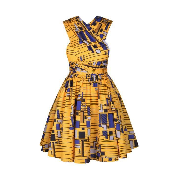 Robe Pagne Wax Courte Mode Africaine Jupe Plissee Taille Haute A