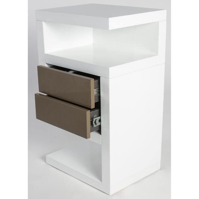 Table de chevet gerry coloris blanc taupe ha achat vente chevet table de chevet gerry - Table de chevet 3 tiroirs ...