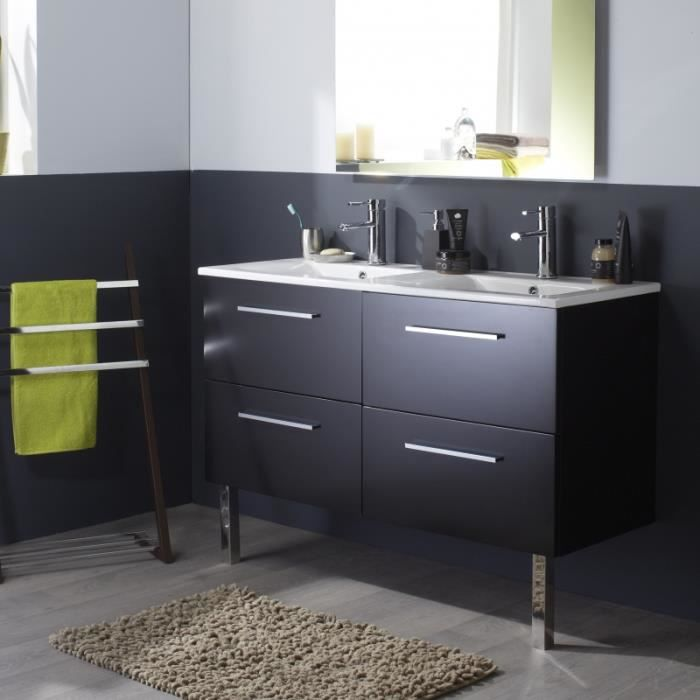 meuble de salle de bain noir avec double vasque achat. Black Bedroom Furniture Sets. Home Design Ideas
