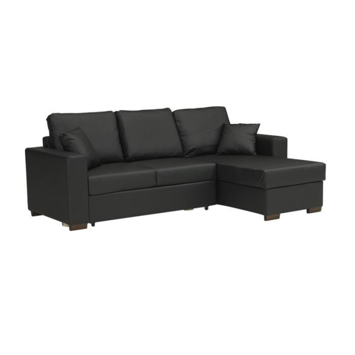 canap d 39 angle convertible en lit paris cuir noir achat vente canap sofa divan cuir. Black Bedroom Furniture Sets. Home Design Ideas