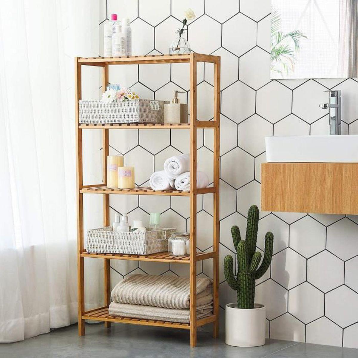 Salle De Bain Deco Bambou meuble rangement salle de bain bambou