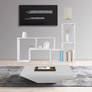 MEUBLE TV Meuble multifonctionnel - 3 en 1 - blanc - constru