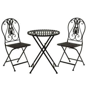 SALON DE JARDIN  2 Chaises 1 Table de Jardin en Fer Pliante Pliable