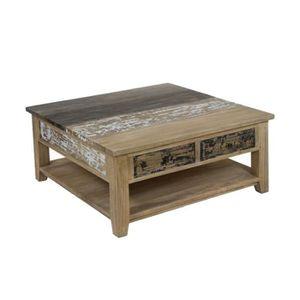 Table Basse Carree En Bois Decape Campagne 100x100x45cm Achat