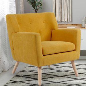 FAUTEUIL Fauteuil scandinave en tissu jaune moutarde