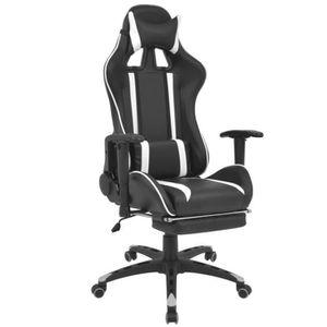 CHAISE Chaise de bureau inclinable avec repose-pied Blanc