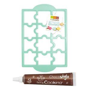 EMPORTE-PIÈCE  Plaque découpoir à biscuits Puzzle + Stylo chocola