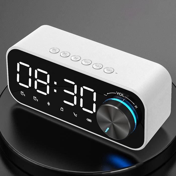 Nouveau Bluetooth 5.0 Numérique Réveil LED Intelligent SANS FIL Bouton Lecteur de Musique Haut-Parleur Électr