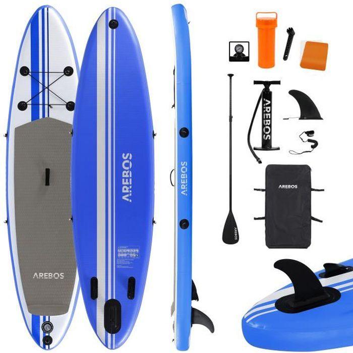 AREBOS SUP Pagayage à la Planche Planche de Surf Gonflable avec Pagaie Bleu 320cm