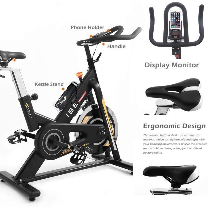 ISE Vélo Spinning Biking d'appartement Cardio , Poids d'inertie de 15 KG avec Programme et l'Ecran Silencieux, Guidon et Siège Régla