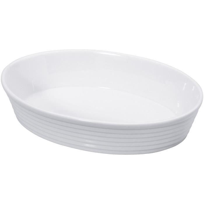 KUCHENPROFI Plat à four ovale en Porcelaine - 30 cm - Blanc