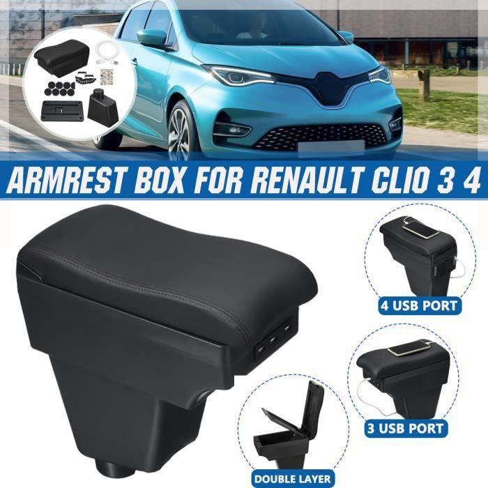 Accoudoir Console Centrale Boîte de rangement Pour Renault - Clio 3 4 Captur - Ligne-Noir