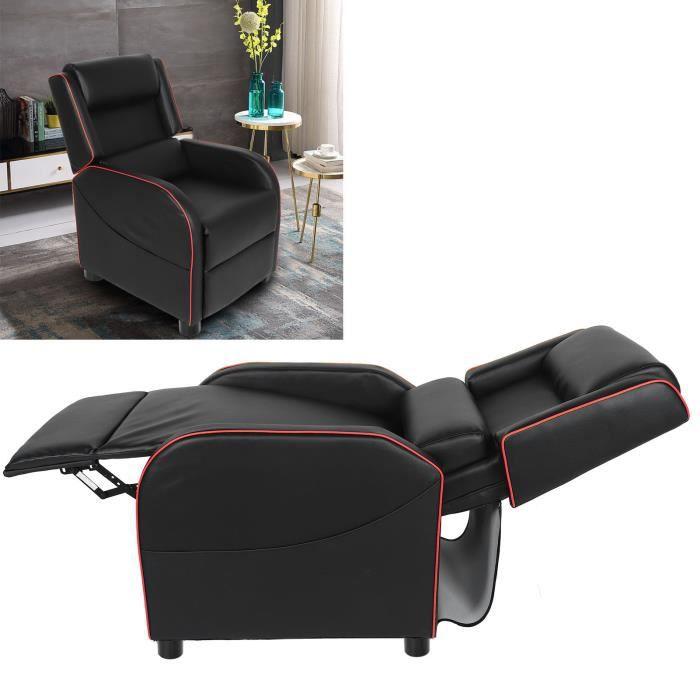 Fauteuil inclinable TV Fauteuil relax style contemporain 103.5x74x65cm rouge et noir HB008