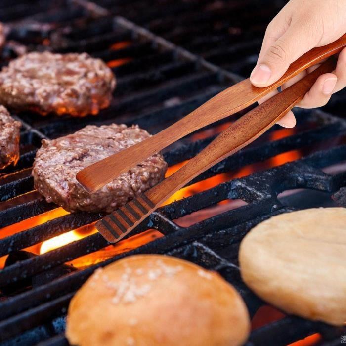 Atyhao pince à steak Pince à barbecue en bois Pince à nourriture pour buffet Pince à pain Pince de cuisine Outil de service