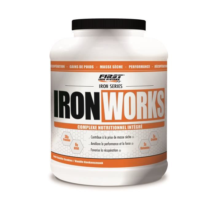 IRON WORKS 2200g CHOCOLAT First Iron System Proteine Whey Isolate WPC Carnitine BCAA Creatine (2,2kg)