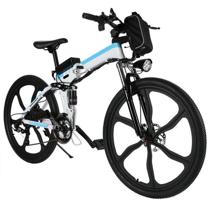 Vélo de montagne électrique pliable 250W 26 '' 36V 8AH Distance 28 km 21 vitesses EU plug -Blanc