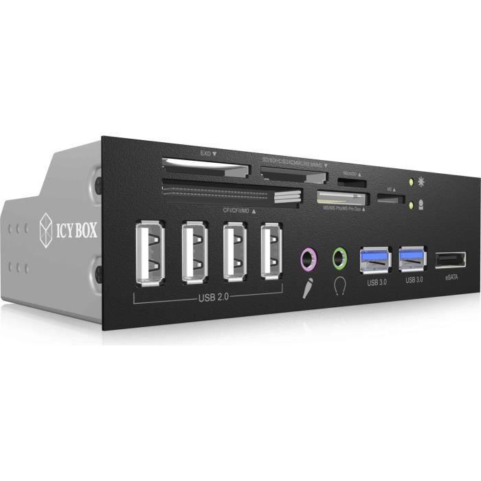 """Icy Box Ib 863a B Lecteur de cartes mémoire avec ports Usb 2.0/Usb3.0/Esata (dans baie 5.25"""") (ref : Ib 863A B)"""