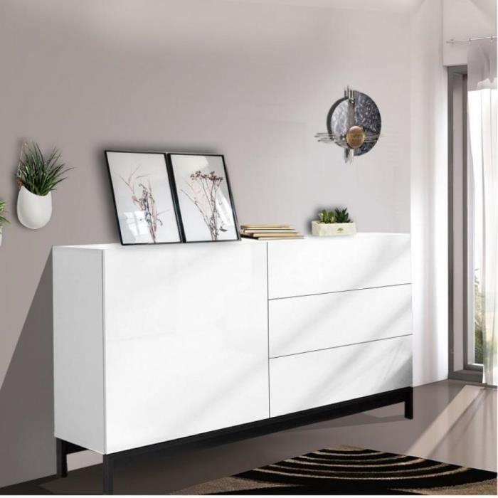 Buffet design METIS 110 cm Finition blanc laqué brillant 3 tiroirs 1 porte blanc Inside75