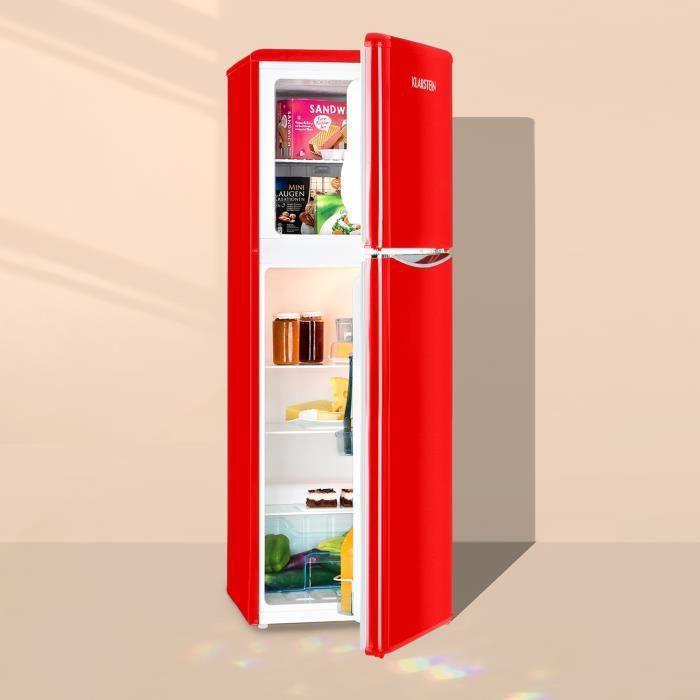 Klarstein Monroe XL Red Combiné Réfrigérateur & congélateur 97l - 39l - Look rétro rouge - 41dB - 70W - Classe énergétique A+