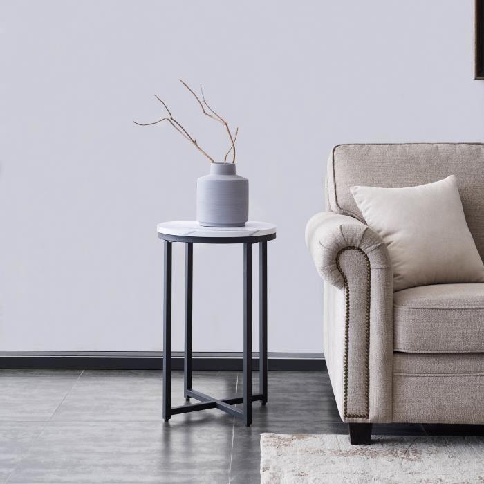 Table d'appoint, Table de Chevet en bois et métal, Bout de canapé, Armature en métal , pour Salon, Chambre gris & noir