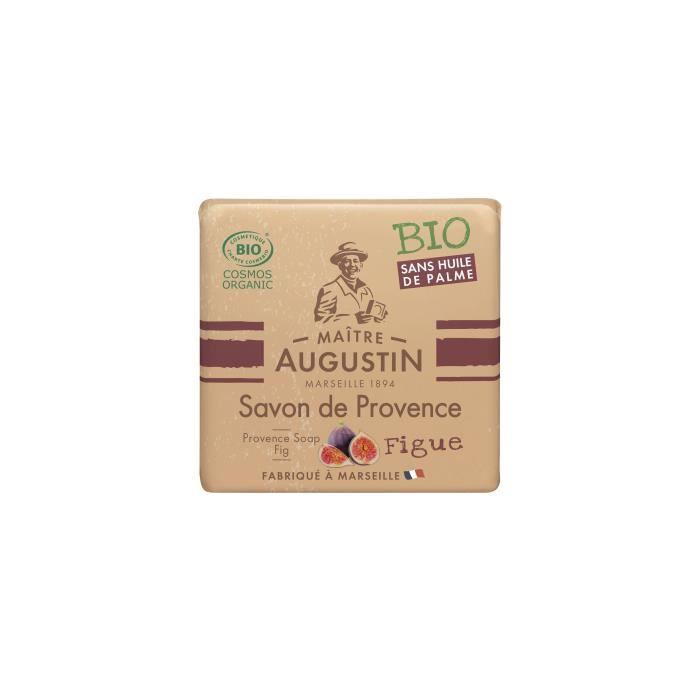Le savon de Provence Bio Figue MAITRE AUGUSTIN nettoie votre peau tout en douceur.