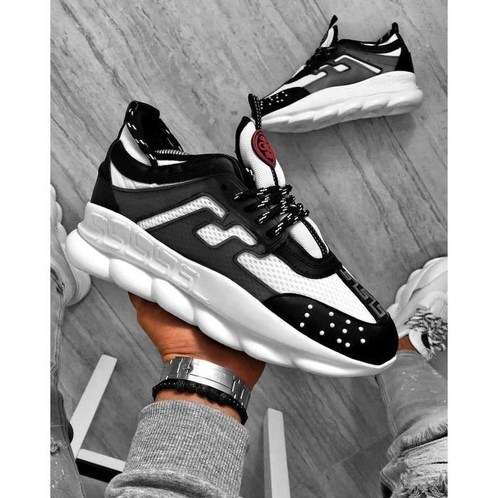 Basket sneakers noir blanche stylé avec motif baroque et strass