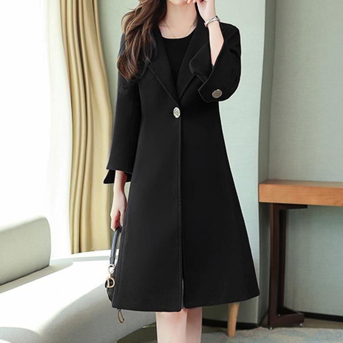 Veste d'hiver pour femmes avec bouton de revers long Trench-coat pour femmes pardessus Outwear LSI90927947BKL