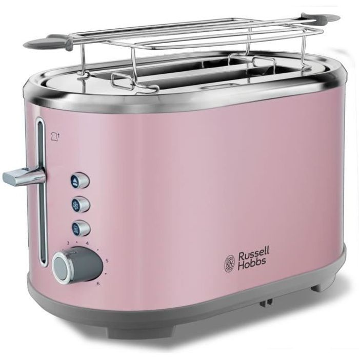 RUSSELL HOBBS 25081-56 Toaster Grille Pain Bubble Fentes XL, Cuisson Réglable - Rose