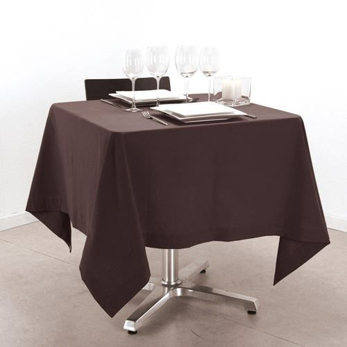 Nappe carr e 150 x 150 cm chocolat achat vente for Table carree 150 x 150