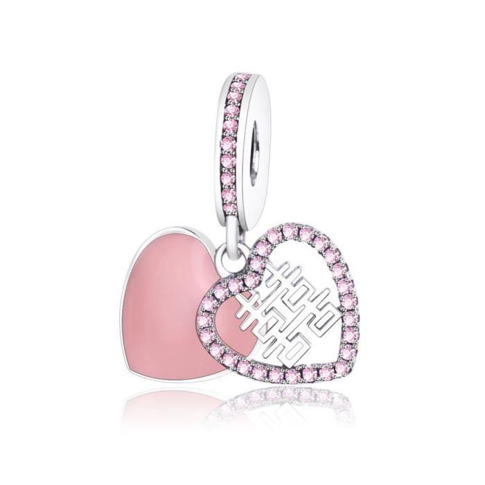charm pandora coeur rose