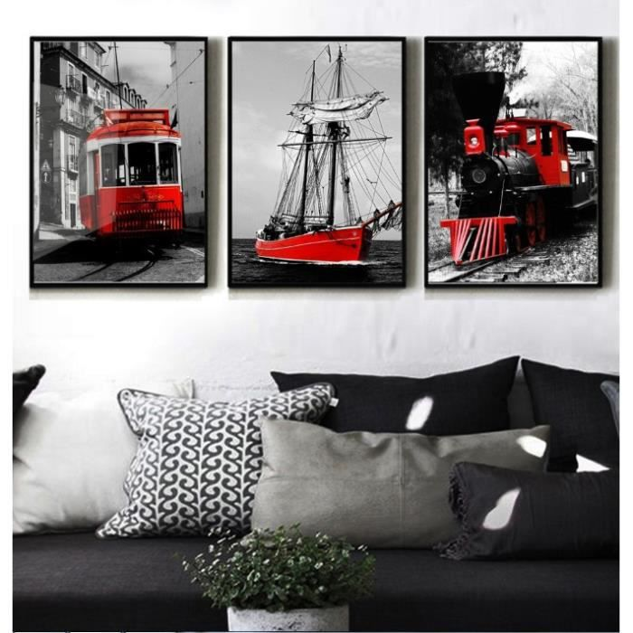 3 panneau noir et blanc s rie couleur rouge train voile art peinture tableau d coration maison. Black Bedroom Furniture Sets. Home Design Ideas