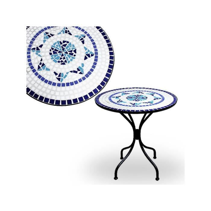 Table mosaique bleu fer forg 70 x 60 cm plateau en v ritables carreaux de mosaique for Achat table de jardin mosaique