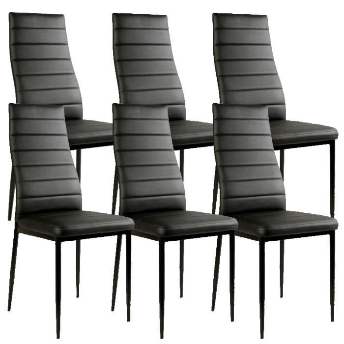 lot de 6 chaises noir matelass design achat vente canap sofa divan pvc cdiscount. Black Bedroom Furniture Sets. Home Design Ideas