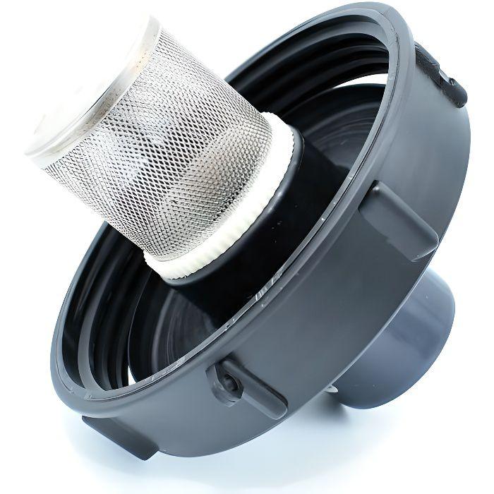 Couvercle 15cm pour cuve 1000L avec entrée PVC 63//75 et filtre 2 pouces
