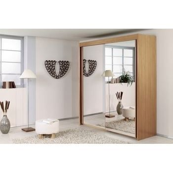 armoire portes coulissantes fa ade miroir 150 achat. Black Bedroom Furniture Sets. Home Design Ideas