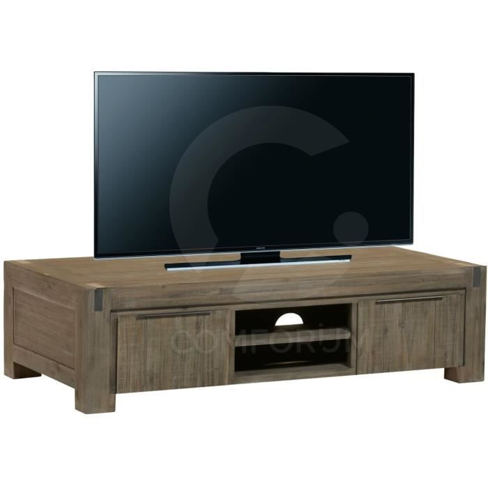 meuble tv 160 cm en acacia massif coloris r glisse achat vente meuble tv meuble tv 160 cm en. Black Bedroom Furniture Sets. Home Design Ideas