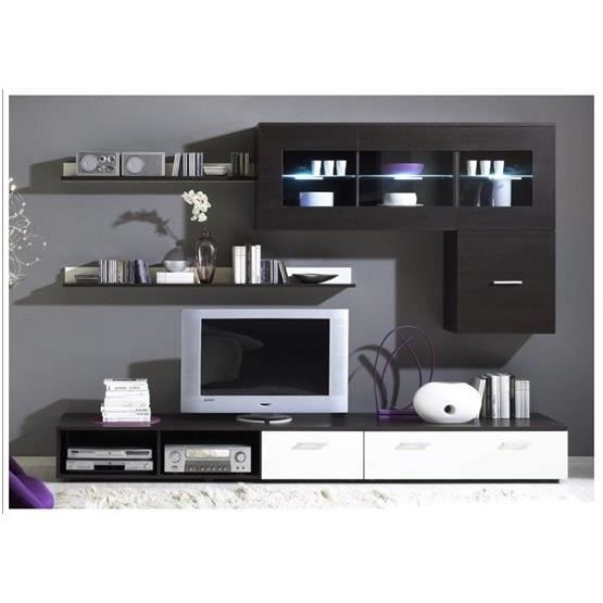 meuble tv design mural lego wenge et blanc achat vente meuble tv meuble tv mural lego we bl. Black Bedroom Furniture Sets. Home Design Ideas