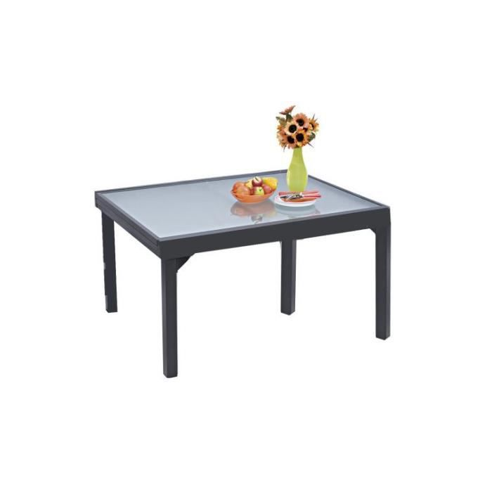 Table de jardin modulo grise extensible 6 a 10 personnes for Table 6 personnes extensible