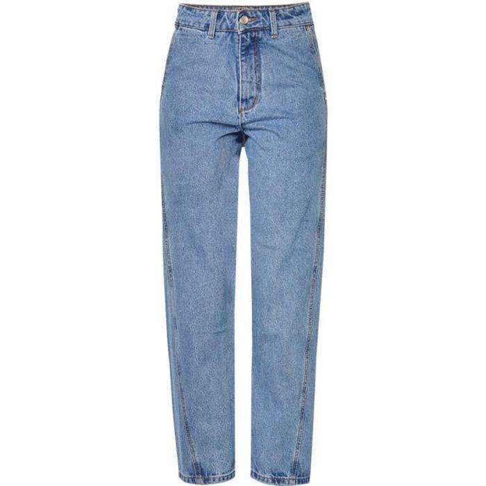 Jean femme large taille haute décontracté large coupe droite zippé SIMPLE FLAVOR Bleu - Achat ...