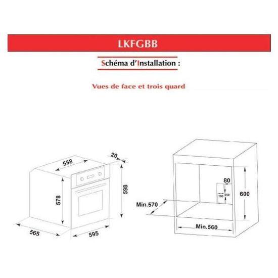 Capacit/é 57 Litres Inox LINK/Ë LKFGX Syst/ème de S/écurit/é par Thermocouple Four encastrable Catalyse /à Gaz Naturel