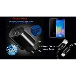 CHARGEUR TÉLÉPHONE Chargeur OI avec cable USB noir TypeC Huawei Mate